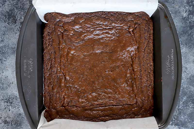 Horizontal image of a baked cocoa dessert in a square pan lined with parchment paper.