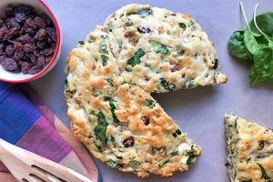 Savory Spinach Cake with Raisins, Walnuts, and Feta