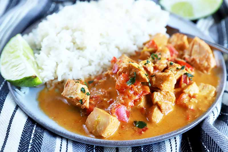 Horizontal image of a plate filled with a side of white rice and a curry with poultry and vegetables.