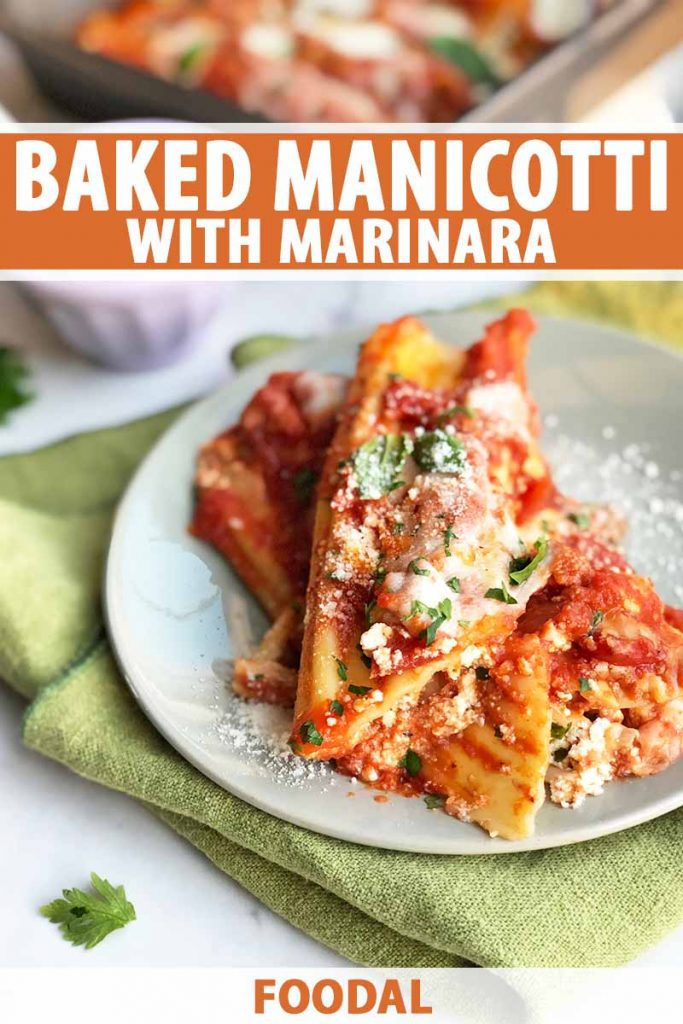 Vertical close-up image of a plate topped with three cooked pasta tubes stuffed with cheese and topped with marinara and herbs on a green napkin, with text on the top and bottom of the image.