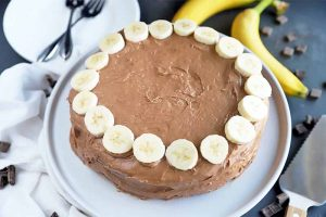 Chocolate Chip Banana Cake with Banana Cocoa Frosting