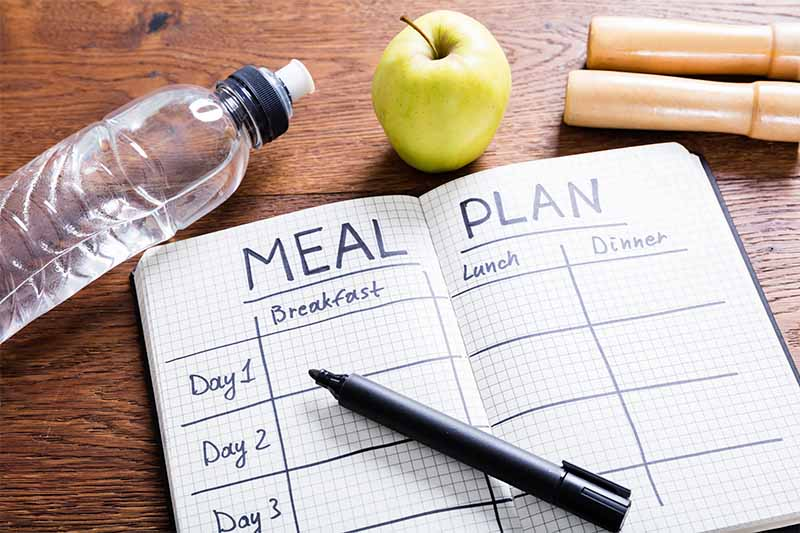Horizontal image of a meal planner notebook next to a pen, a water bottle, an apple, and small wooden logs on a table.