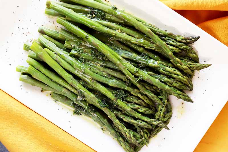 Horizontal top-down image of a bunch of seasoned, cooked, long green vegetable spears on a white plate on a yellow towel.