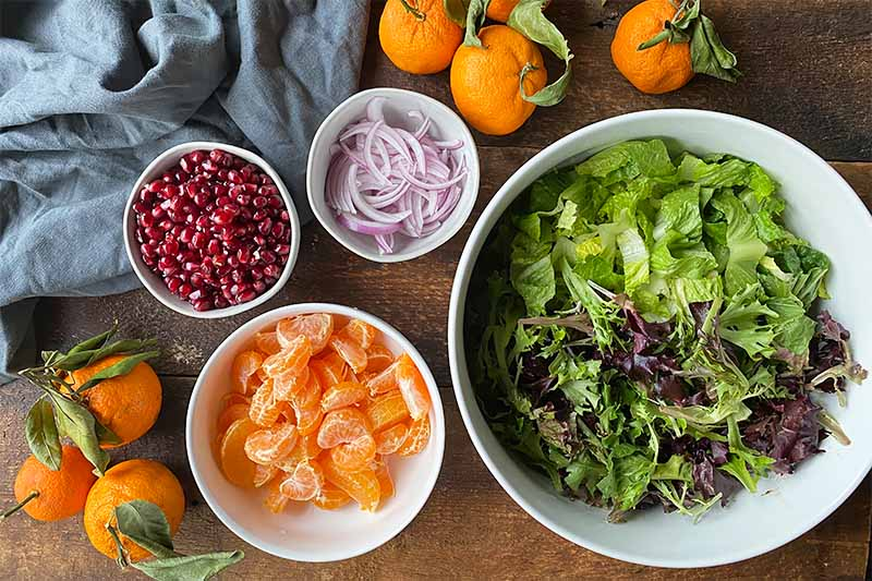 Horizontal image of white bowls of ruby red seeds, sliced red onions, citrus segments, and chopped lettuce.