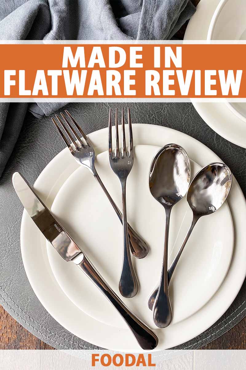 Vertical top-down image of multiple spoons and forks and a knife on two sets of white plates on a gray placemat, with text on the top and bottom of the image.