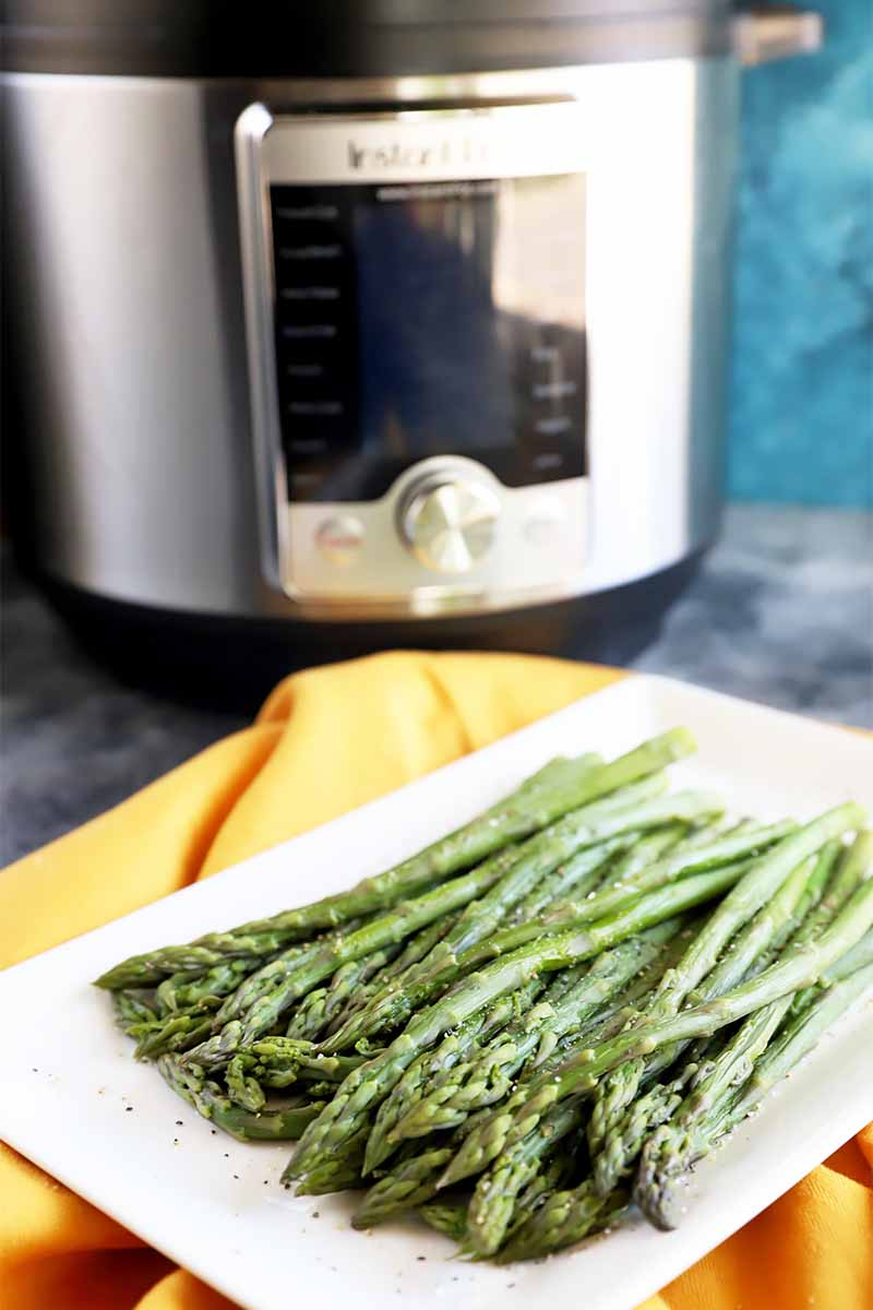 Vertical image of a pressure cooker behind a white plate on a towel holding a bunch of cooked long green vegetable spears with a simple seasoning.