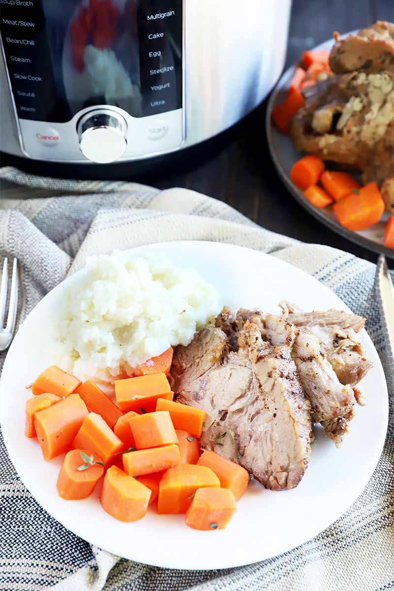Vertical image of a white plate with slices of cooked meat, chopped carrots, and mashed potatoes on a towel in front of a large kitchen appliance.