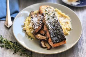 Broiled Salmon with Shiitake Mushrooms and Parmesan Grits