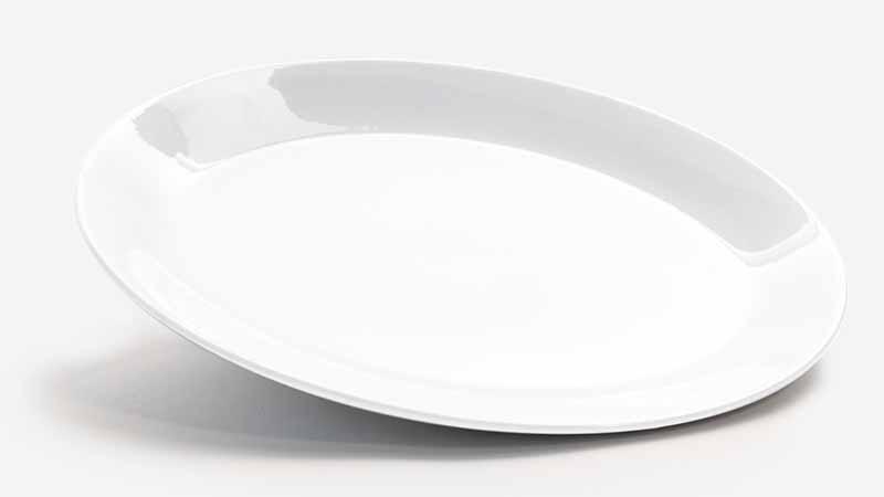 Horizontal image of a large white platter.