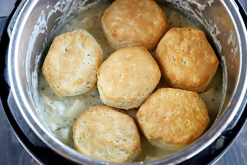 Horizontal image of golden biscuits over a creamy mixture in a pot.