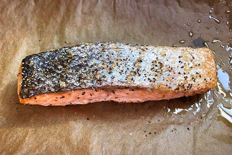 Horizontal image of a cooked fillet of skin-on fish on parchment paper.