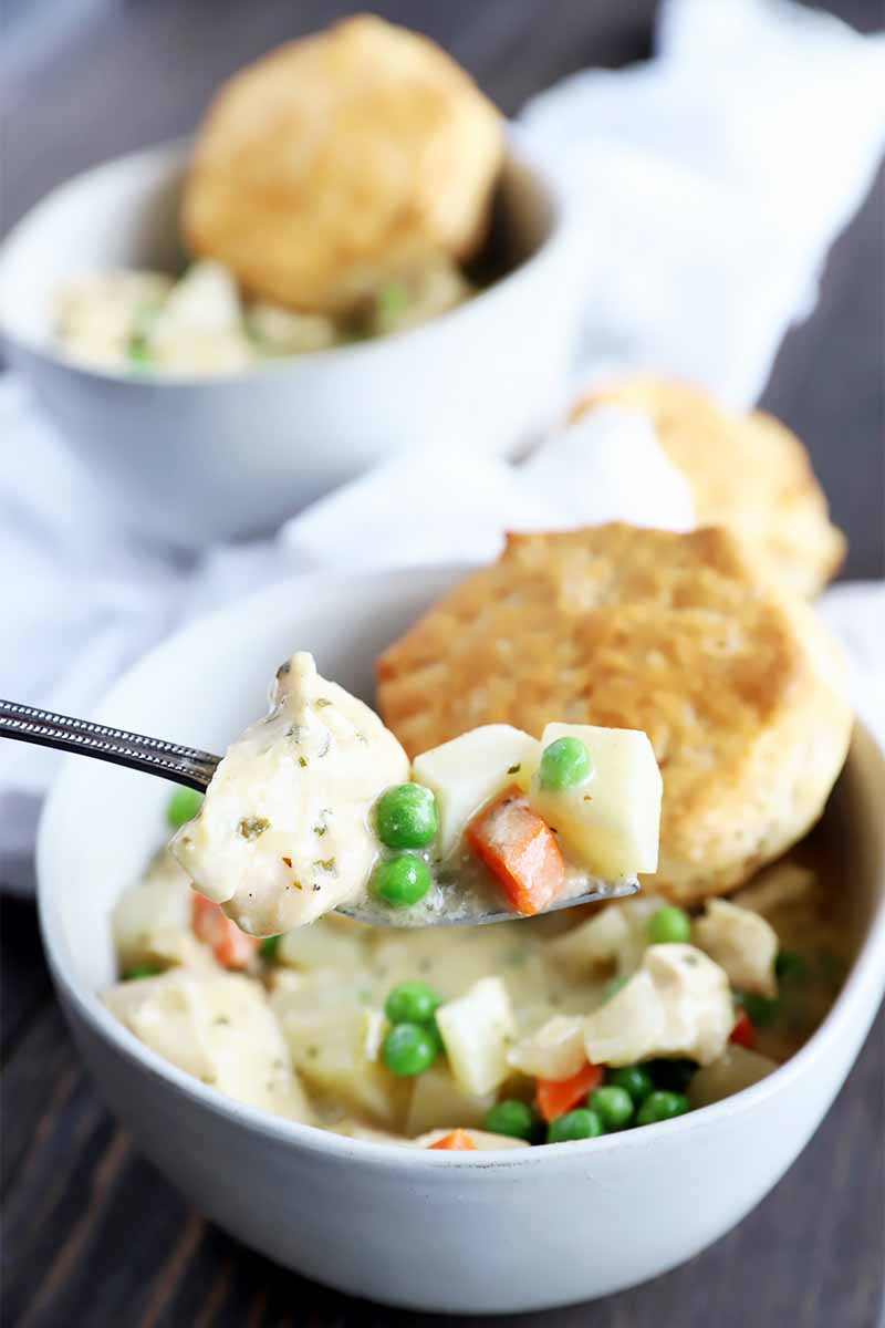 Vertical image of a forkful of a creamy cooked mixture of vegetables and white meat over a bowl with the same mixture and golden biscuits.