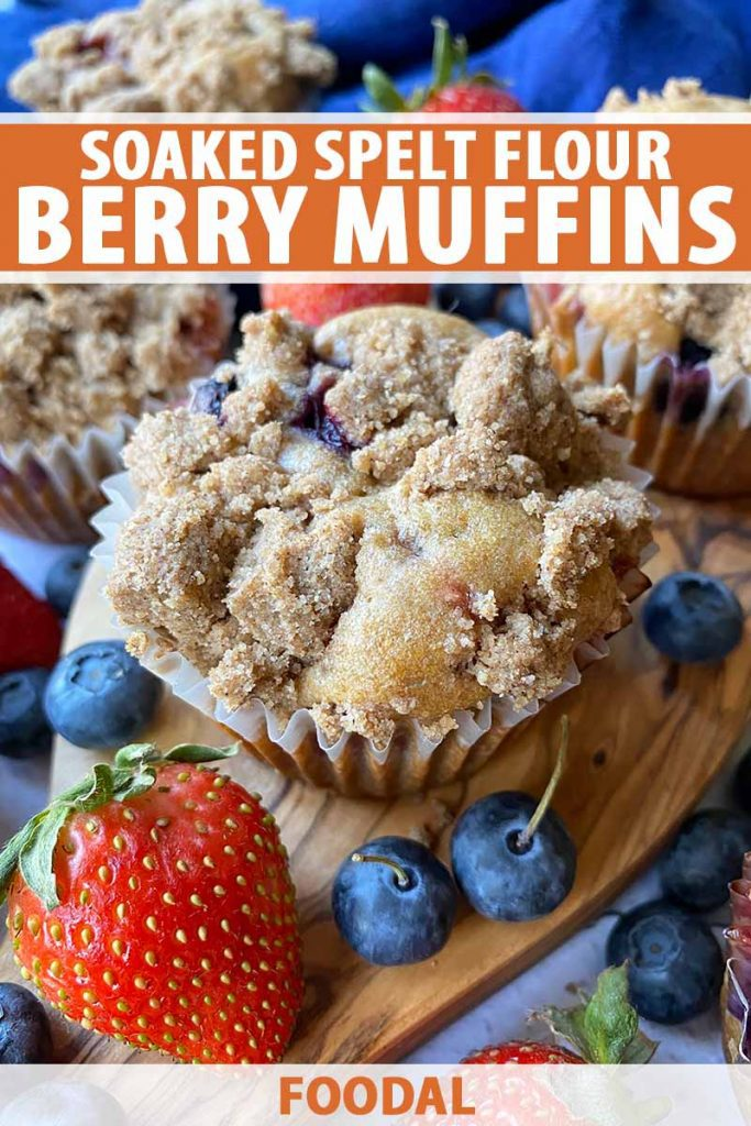 Vertical image of baked goods in paper liners topped with crumbles on a wooden board surrounded by fresh fruit, with text on the top and bottom of the image.