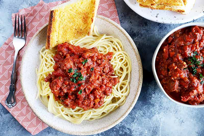 Horizontal top-down image of a plate of pasta with a chunky tomato sauce and a slice of garlic bread on a red napkin next to a fork and more sauce in a bowl.