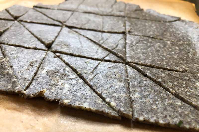 Horizontal close-up image of triangular cuts in a large area of flat, dark brown dough.