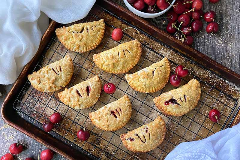 Horizontal image of two rows of half-moon pastries surrounded by cherries on a baking sheet pan with a cooling rack.