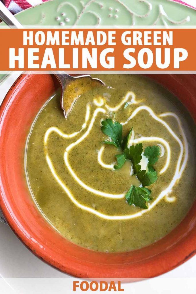 Vertical image of a red bowl filled with a green liquid garnished with a drizzle of sour cream and fresh herbs, with text on the top and bottom of the image.