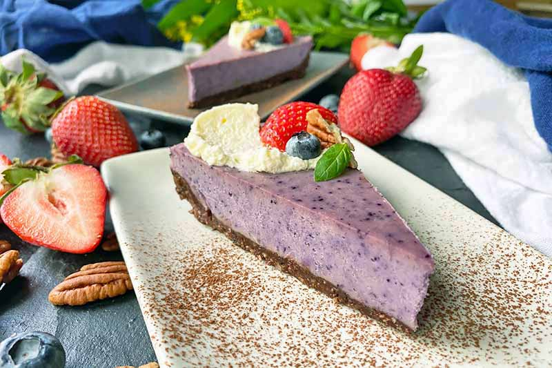 Horizontal image of two slices of purple dessert with assorted garnishes on plates dusted with cocoa powder next to towels and whole and sliced fruit.