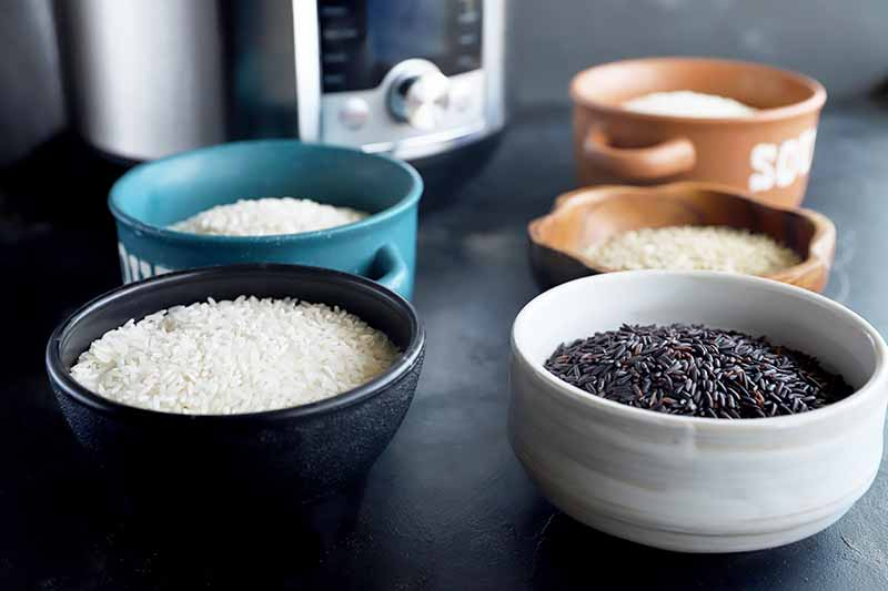 Horizontal image of assorted colored bowls filled with assorted colored grains on a black surface in front of a kitchen appliance.