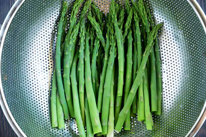 Horizontal image of a colander full of cooked asparagus.