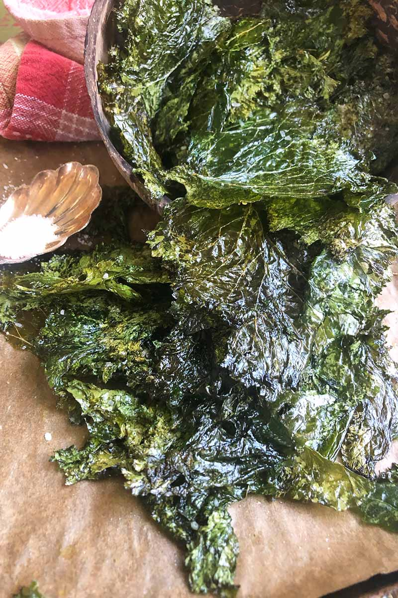Vertical close-up image of baked greens in a bowl spilling onto a paper-lined sheet pan.