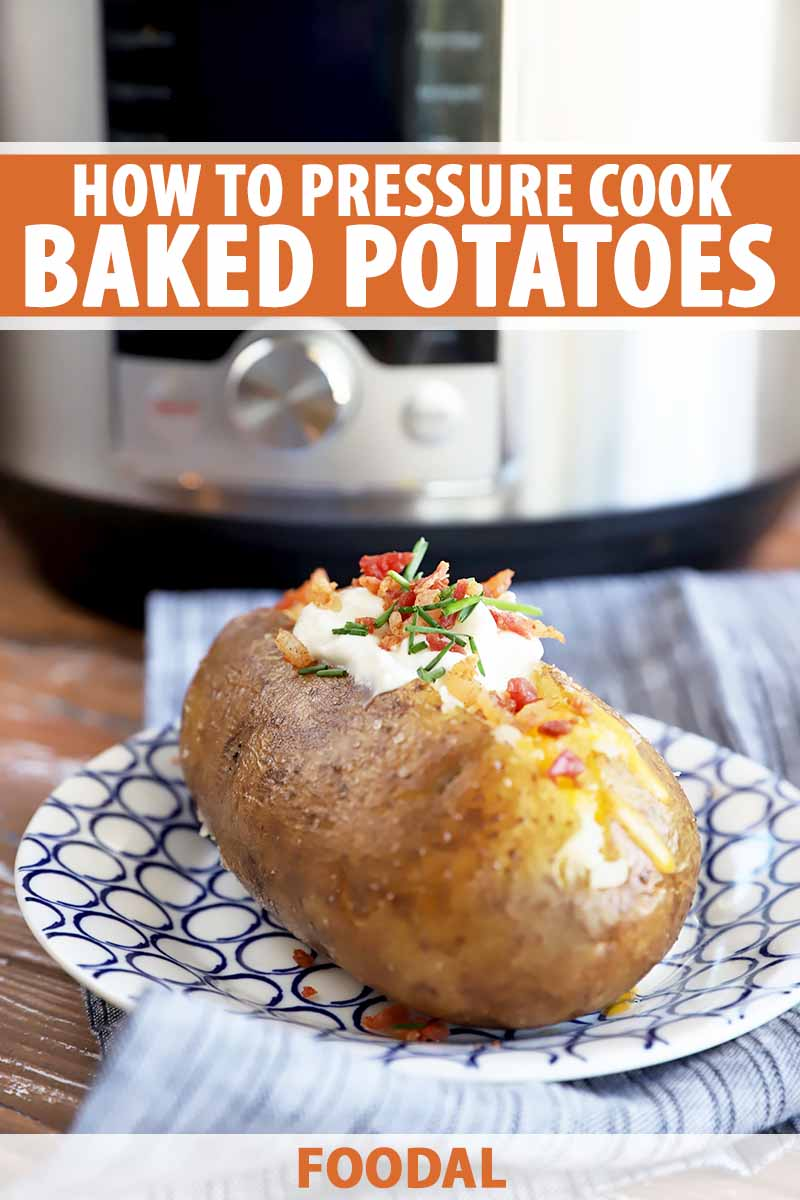 Vertical image of a stuffed cooked spud on a plate in front of a large appliance, with text on the top and bottom of the image.