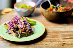 Garlic Ginger Vegetarian Tacos with Sweet and Spicy Cabbage Slaw