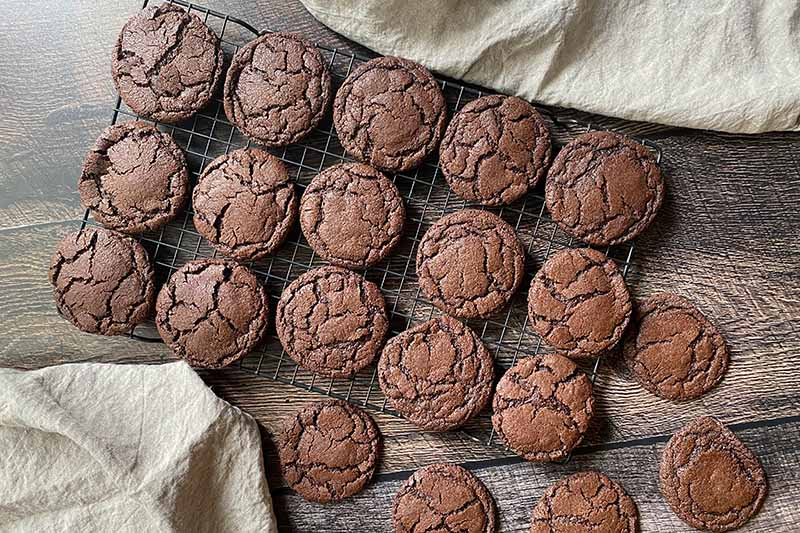 Horizontal image of baked chocolate cookies on a cooling rack.