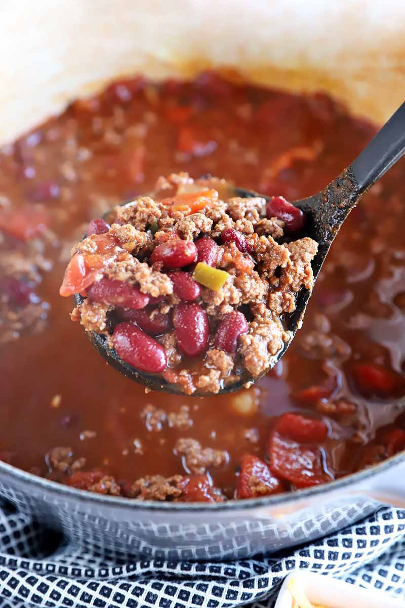 Vertical image of a spoonful of stew in a pot.