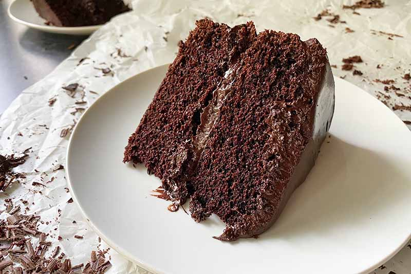 Horizontal image of a slice of cocoa cake on a white plate.