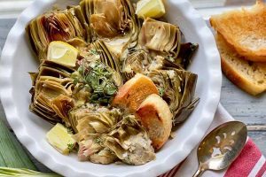 Artichokes Slow-Cooked in Garlic and White Wine