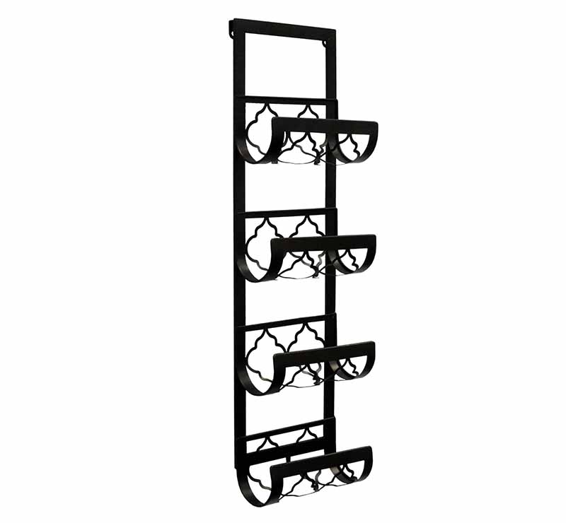 Image of a wall-mounted brown rack with four compartments.