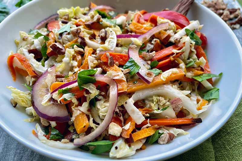Horizontal image of a white bowl with a colorful salad.