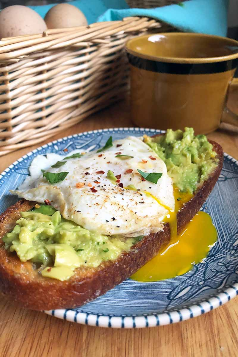 Vertical image of an over-easy egg on mashed avocado with toast on a blue plate in front of a basket and a cup of coffee.