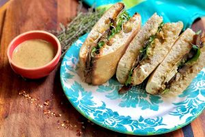 Sauteed Mushroom and Thyme Pine Nut Butter Sandwiches