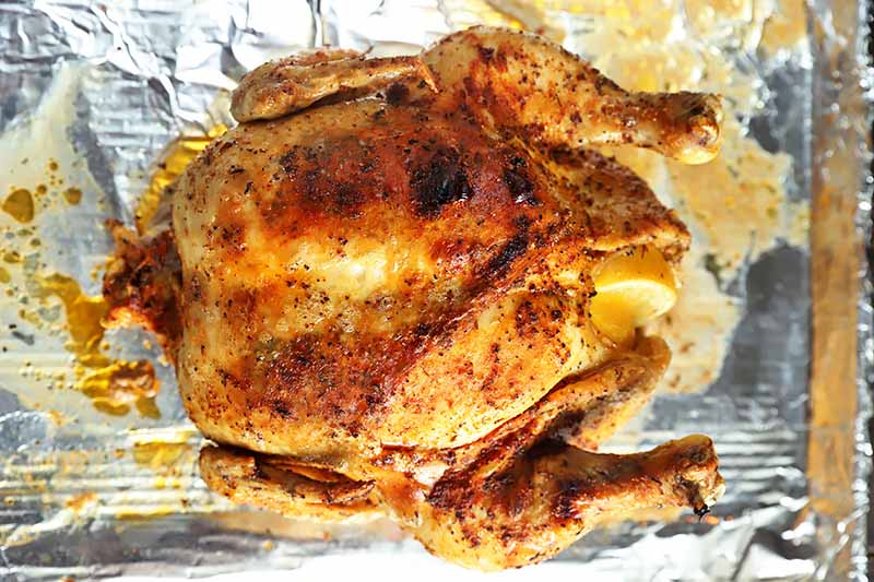 Horizontal image of a whole cooked chicken with crispy skin on a baking sheet lined with aluminum foil.