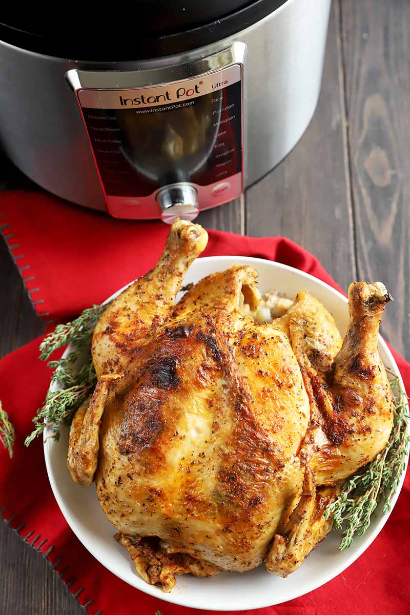 Vertical image of an entire seasoned poultry on a white plate in front of a kitchen appliance on a red towel.