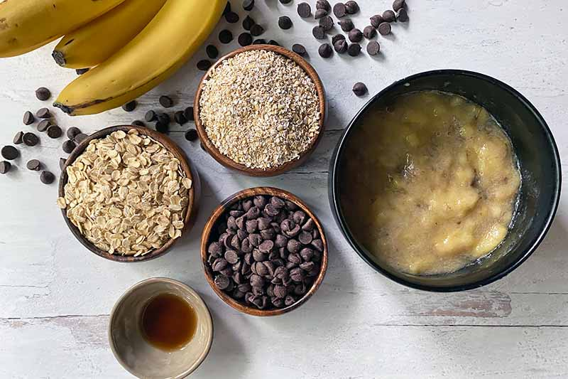 Horizontal image of oats, vanilla, candy, and mashed fruit in bowls.
