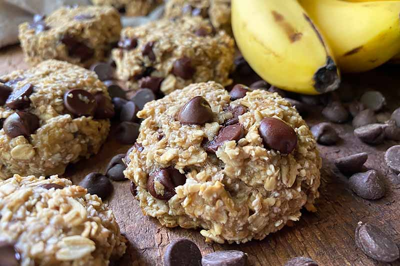 Horizontal image of mounds of oat and candy baked goods next to yellow fruit.