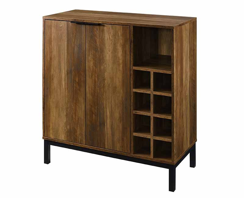 Horizontal image of a wooden cabinet with multiple styles of storage units.