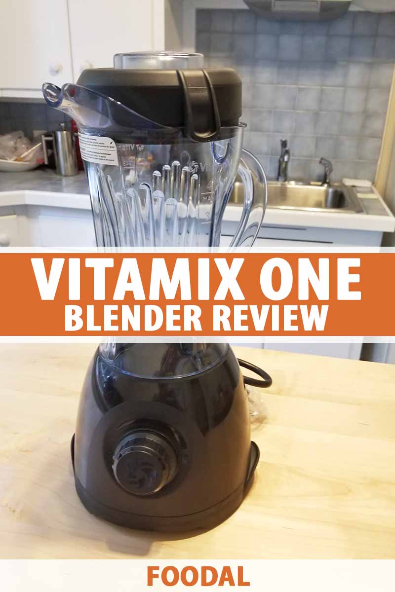 Vertical image of a blender on a countertop, with text in the middle and on the bottom of the image.