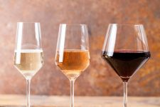 Three different types and sizes of wine glasses
