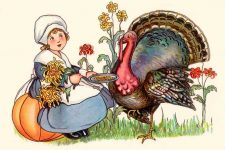 Little pilgrim girl with pet turkey wants other food for thanksgiving