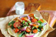 Homemade Wheat Flat Bread with Salad & Hot Bacon Honey Mustard Dressing | Foodal.com