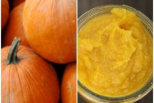 A collage of two photos - the one of the left shows fresh pumpkins and the one on the right shows completed puree | Foodal