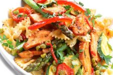 Basil Pesto Chicken Pasta with Asparagus and Sundried Tomatoes