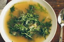 Close up, top view of a Pot Roasty Kale Onion Soup Recipe.