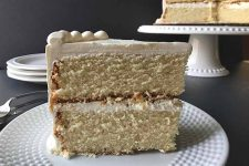 Slice of two-layered very vanilla cake | Foodal.com