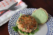 Plated Salmon Burger with Green Goddess Dressing   Foodal.com