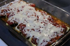 Low Carb Zucchini Boats in roasting pan in overn
